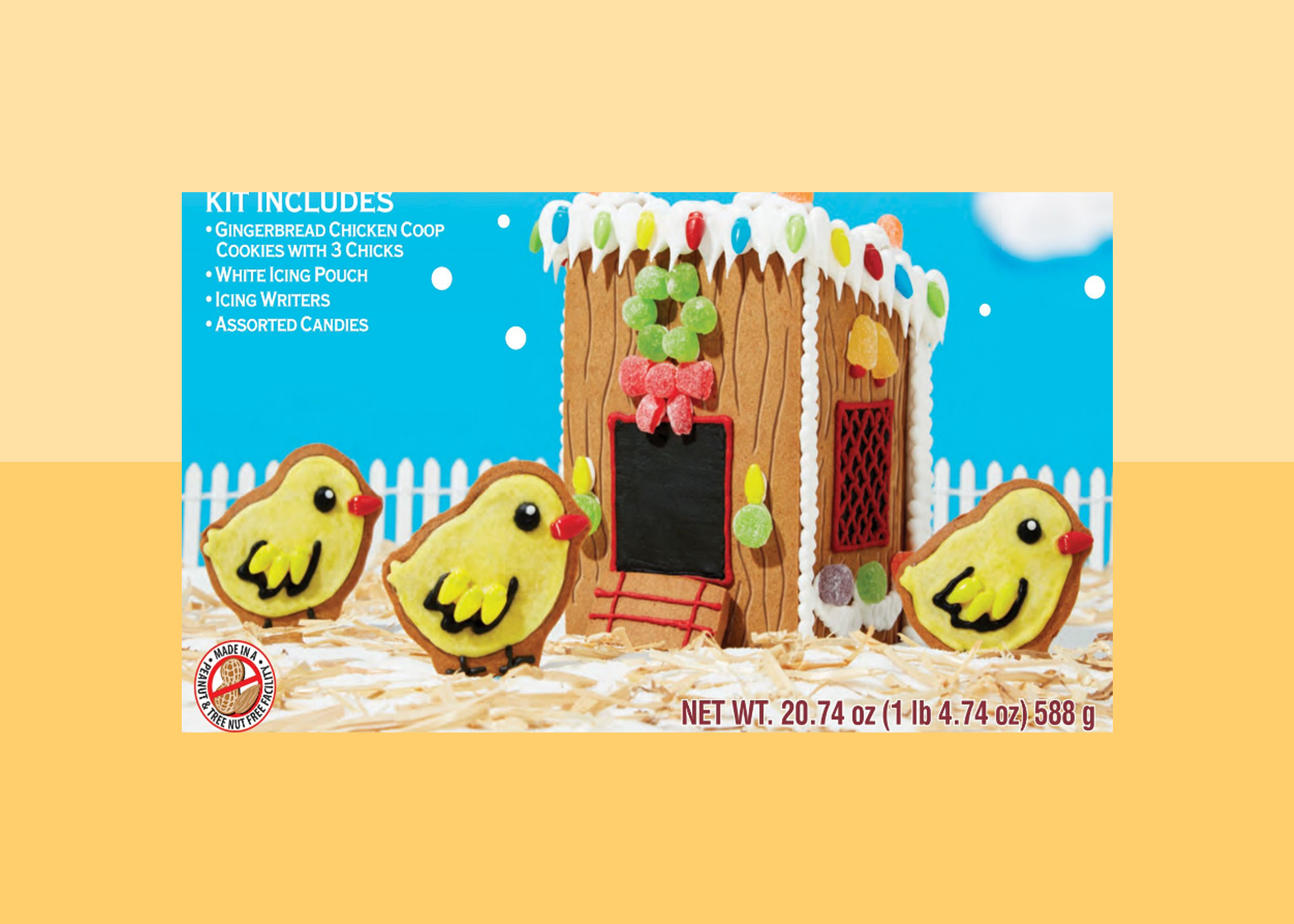 gingerbread chicken coop with yellow background