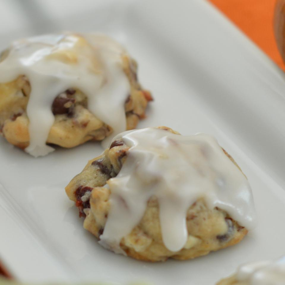 drop cookies dripping in white icing