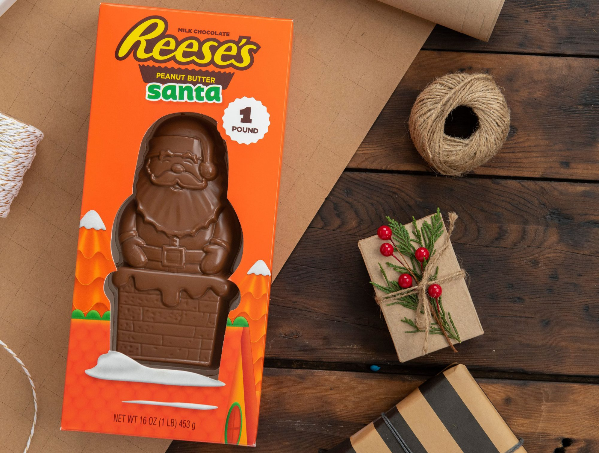 it's a santa-shaped reese's cup that weighs a pound