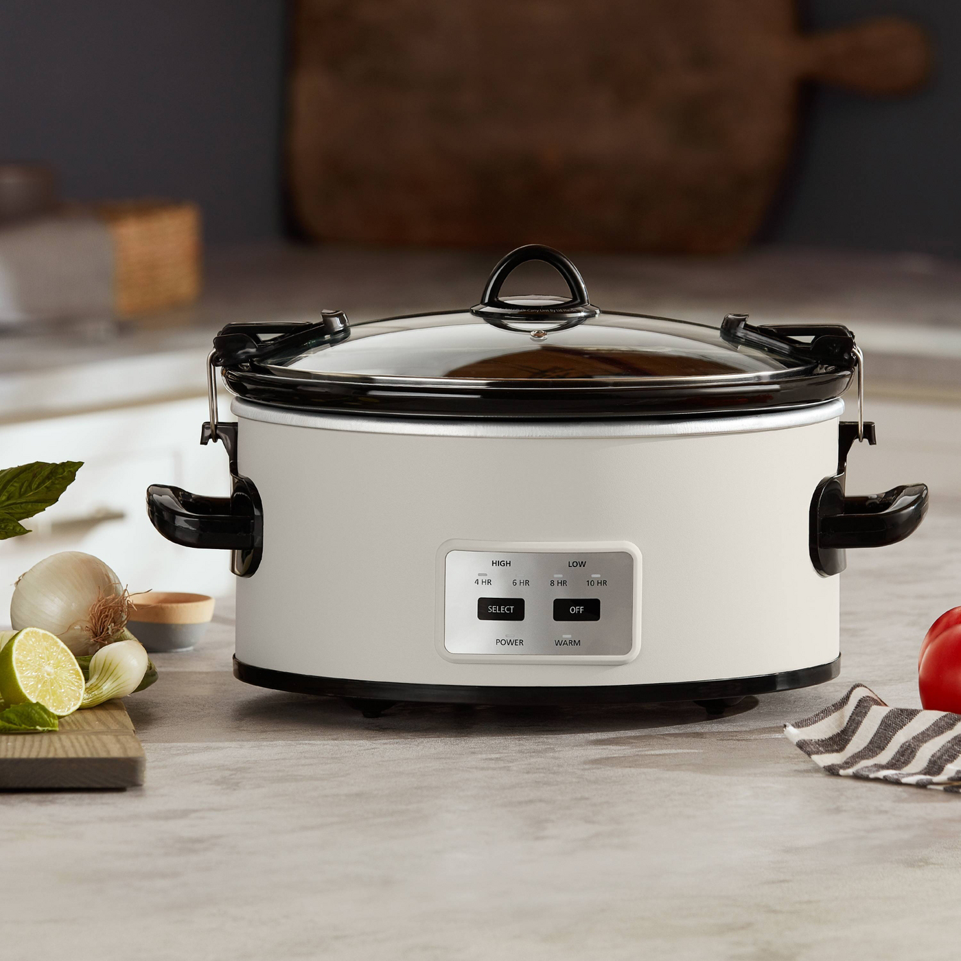 White crock pot on countertop