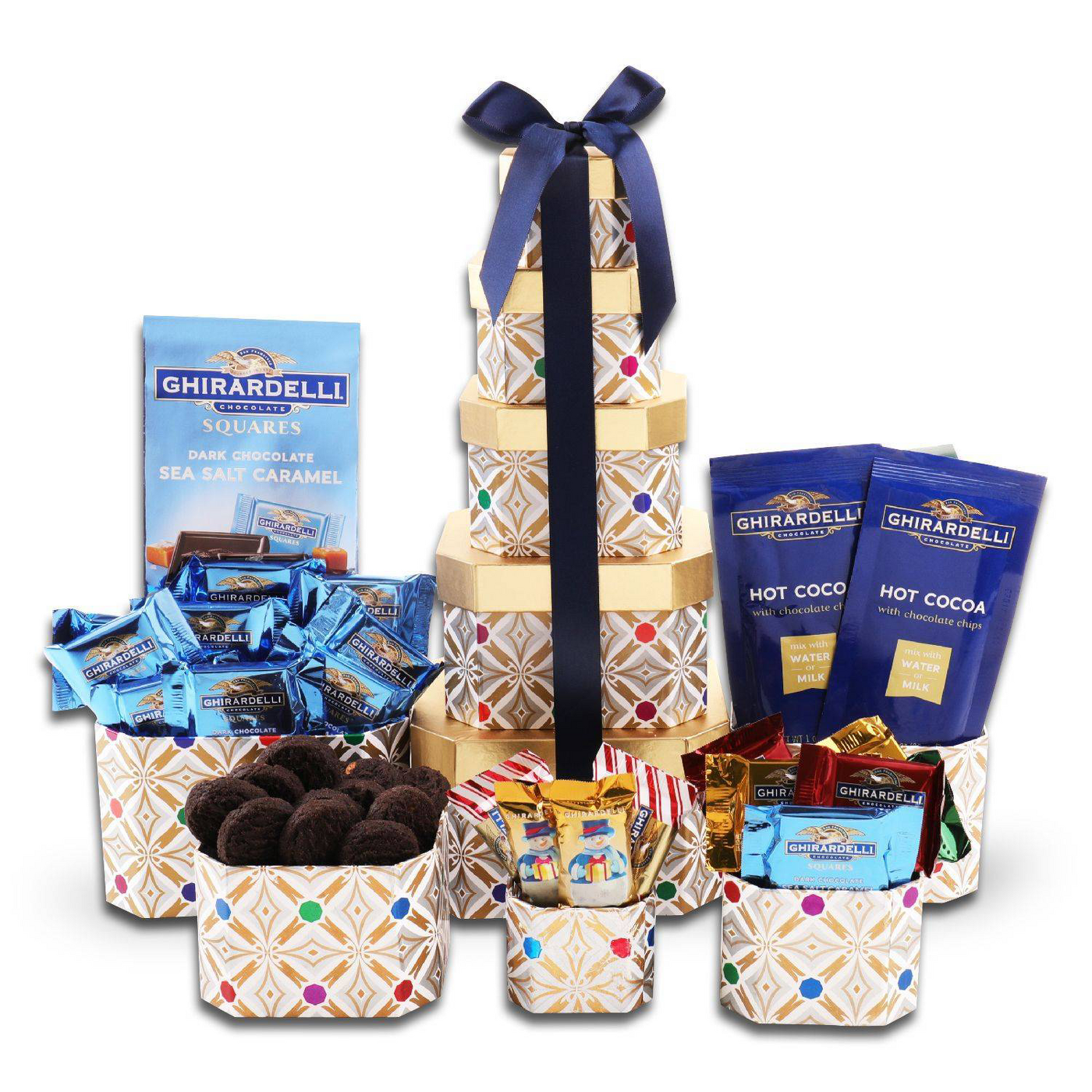 Set of chocolate gifts in various gift boxes