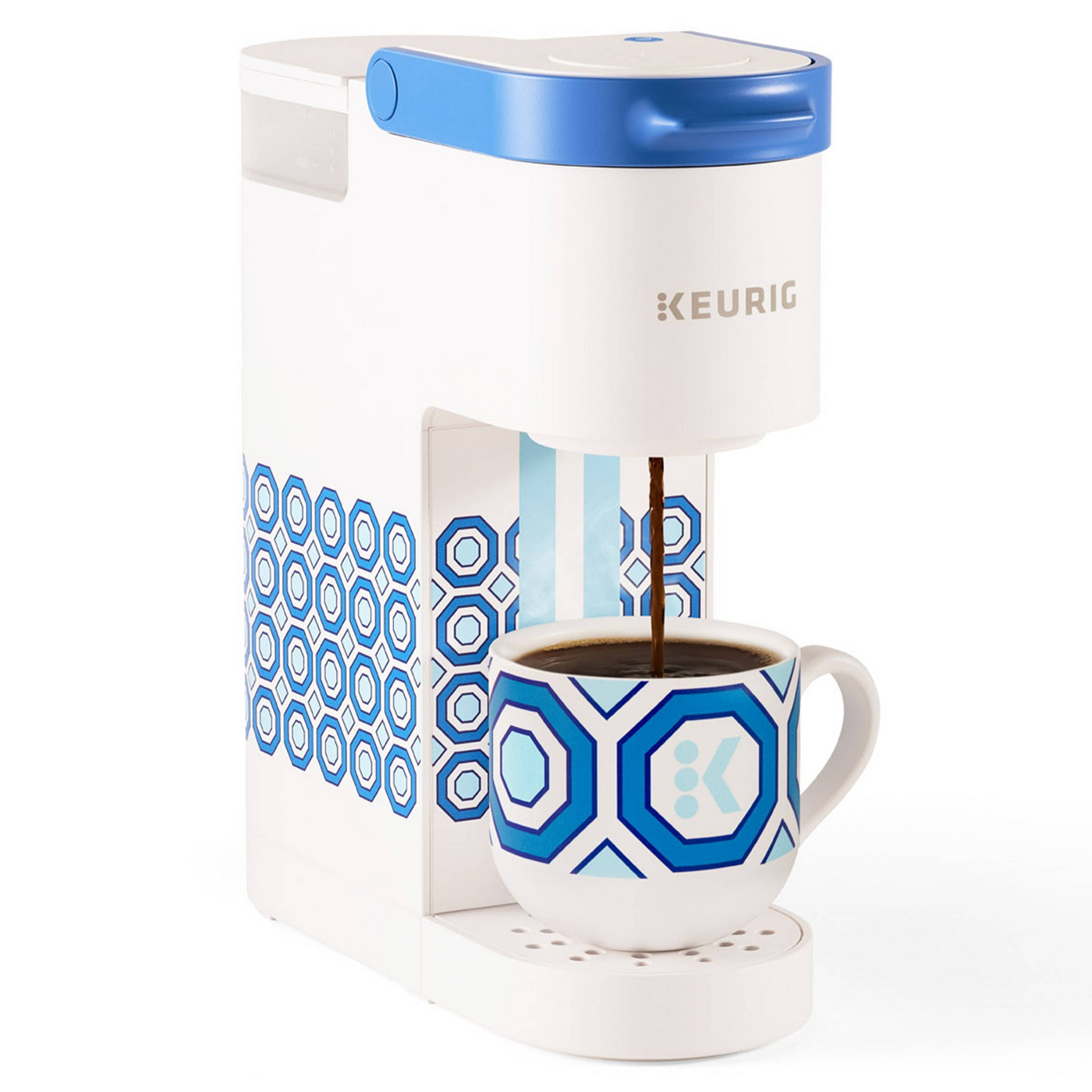 Keurig single serve coffee maker with blue and white geometric pattern