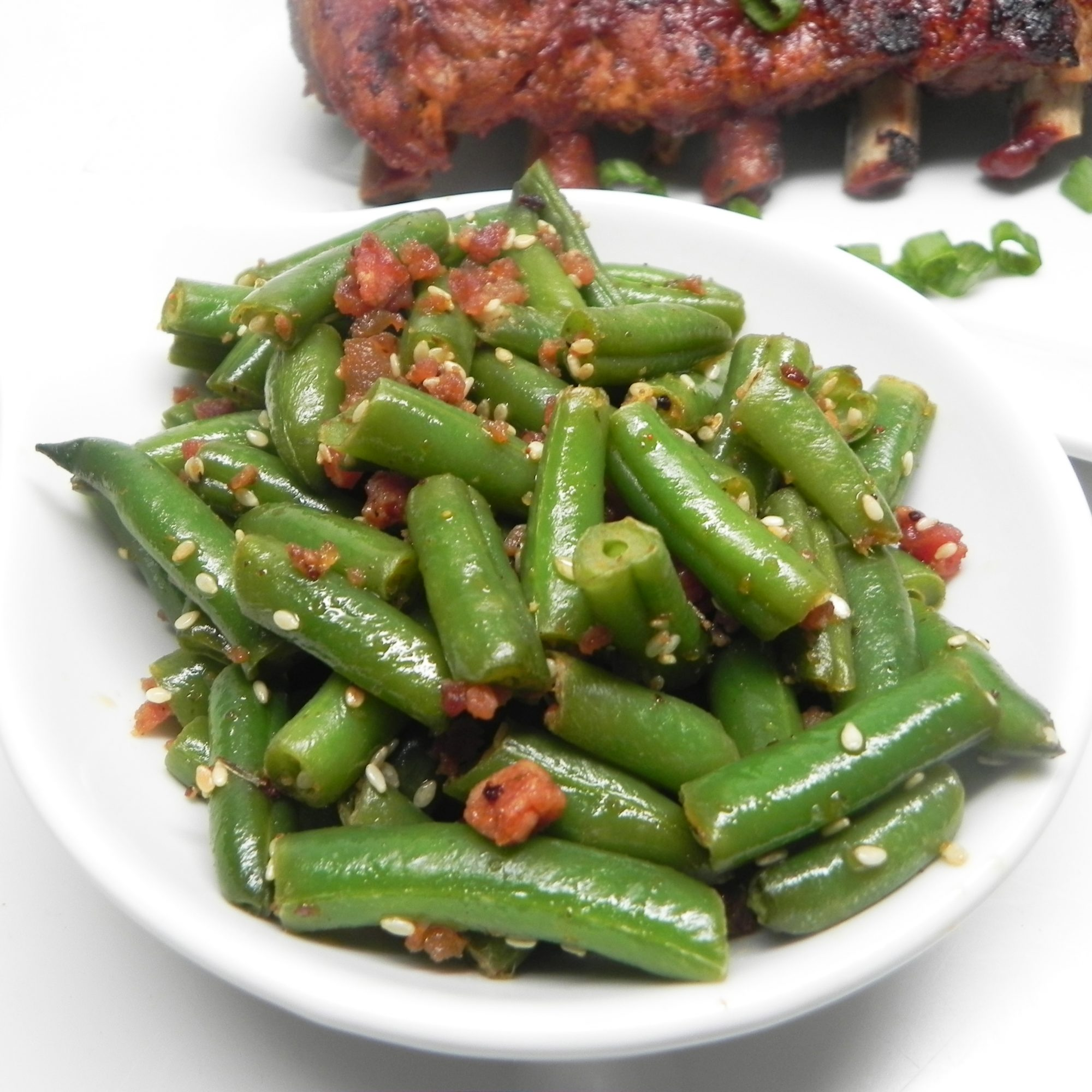 Quick, Smoky Green Beans in a white bowl