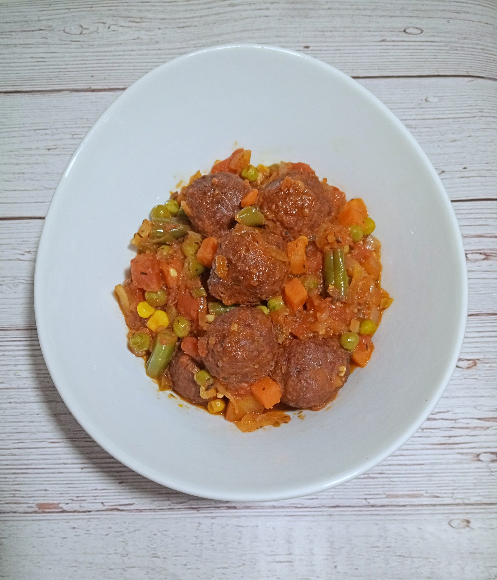 Meatless Meatballs with Vegetable Sauce