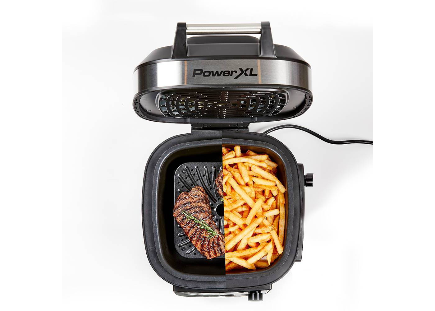 Indoor Grill and Air Fryer with steak and fries
