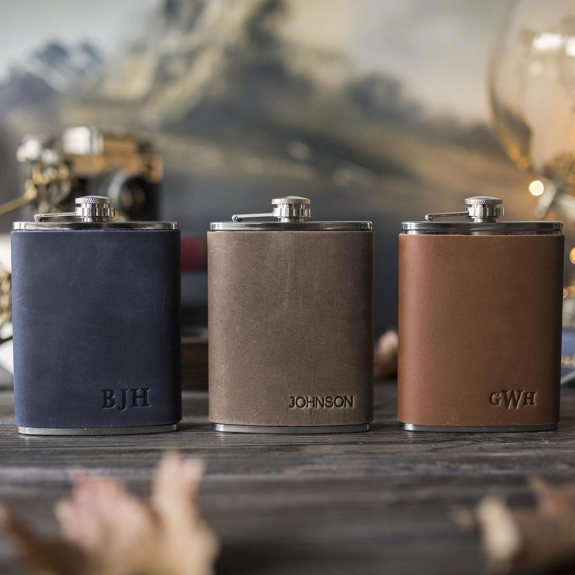 personalized leather flasks