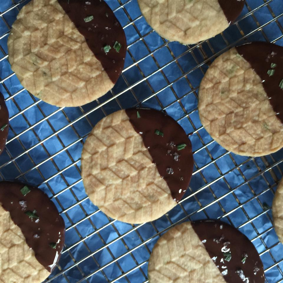 overhead shot chocolate dipped shortbread cookies