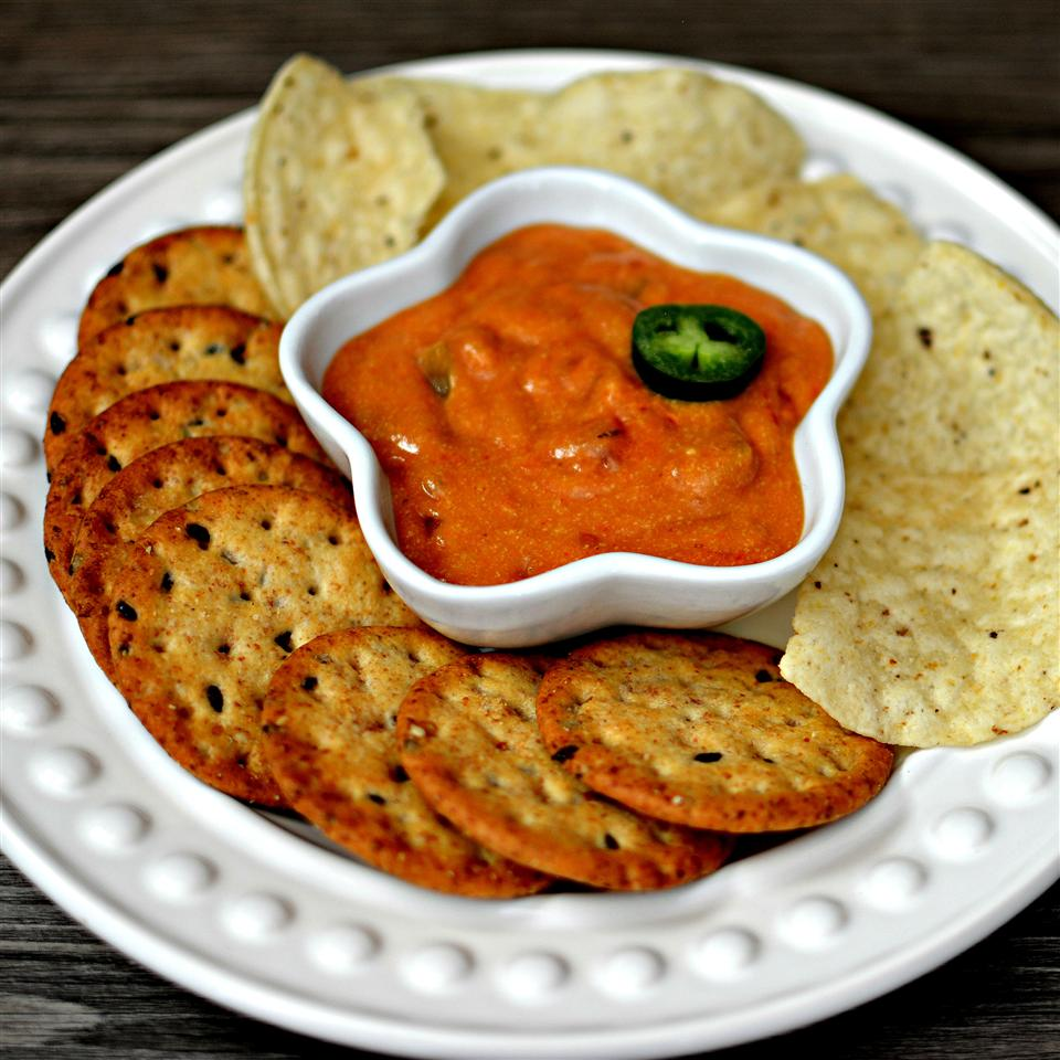 Vegan Cheese Sauce with chips and crackers