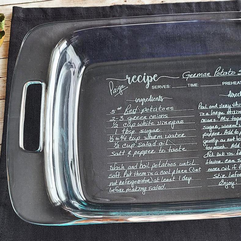 glass Pyrex dish engraved with recipe