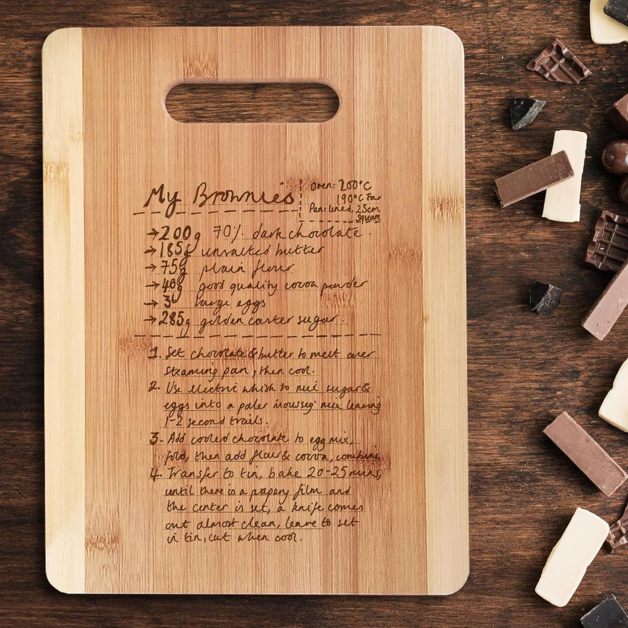 bamboo cutting board engraved with recipe