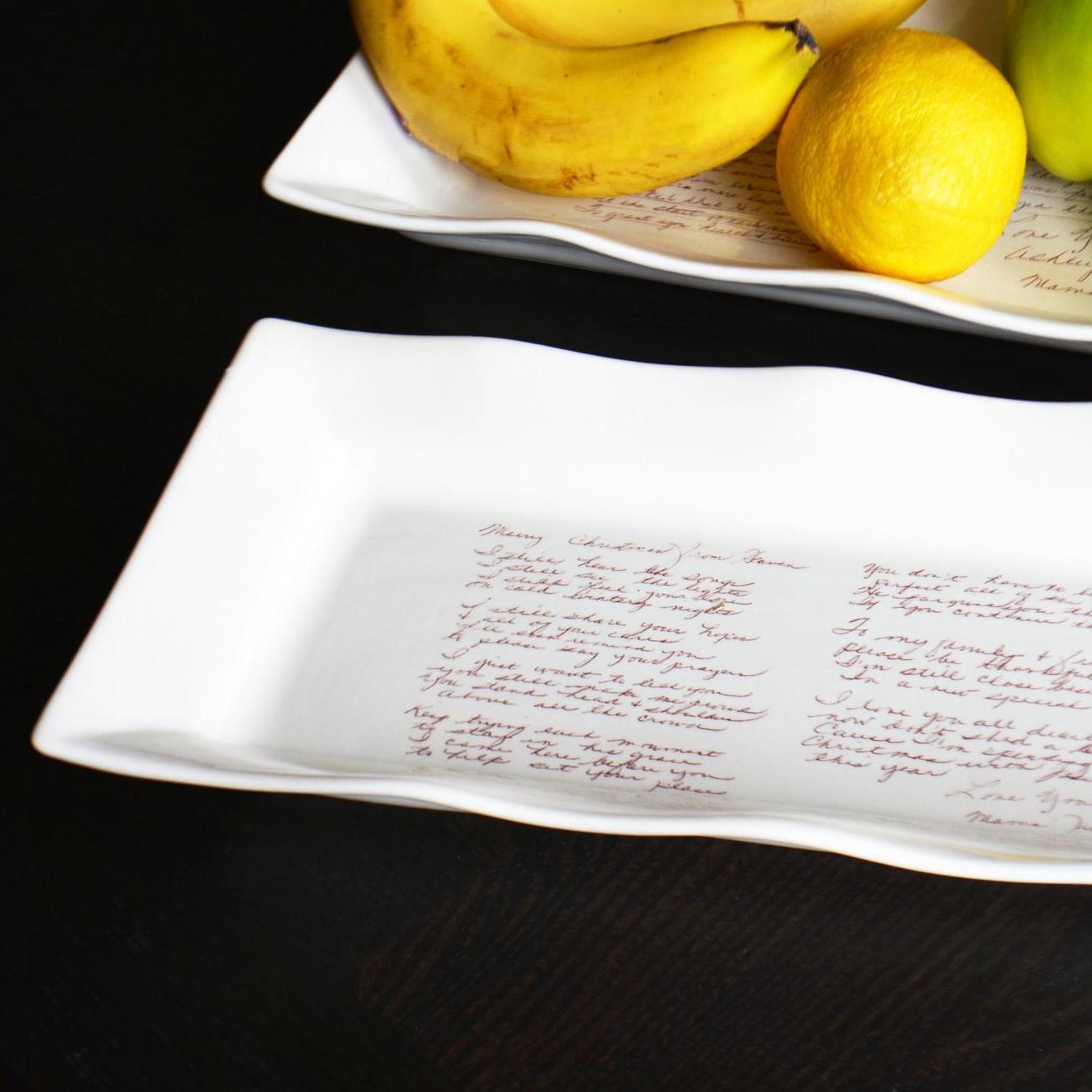 ceramic appetizer platters with handwritten recipes