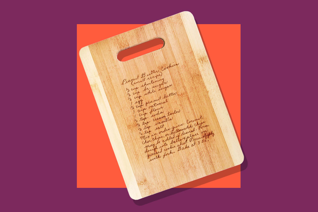 personalized wooden cutting board engraved with family recipe