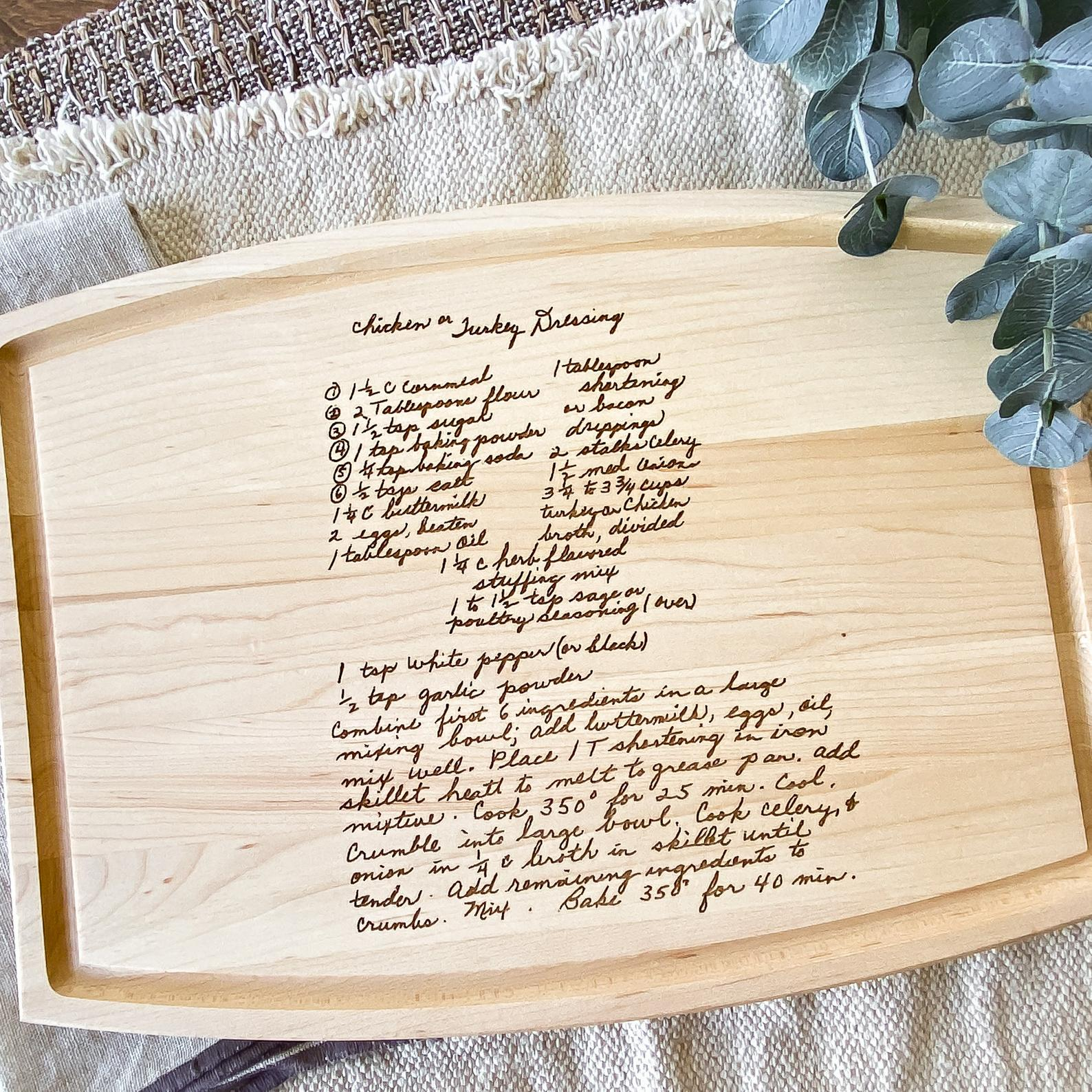 maple cutting board engraved with a recipe