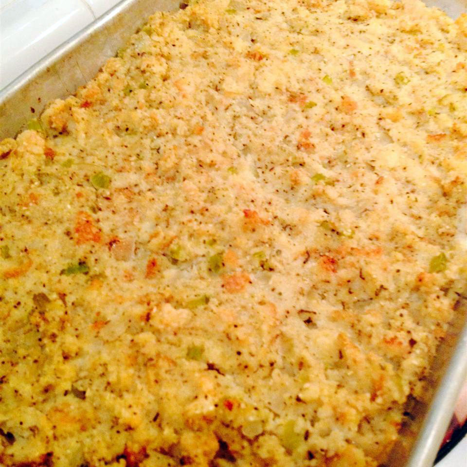 a baking sheet filled with cornbread dressing
