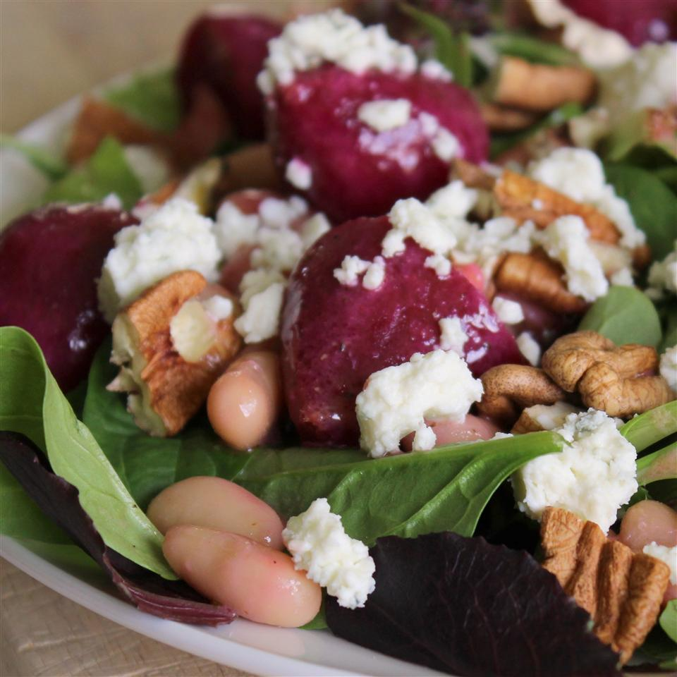 beets, white, beans, crumbled bleu cheese, and greens