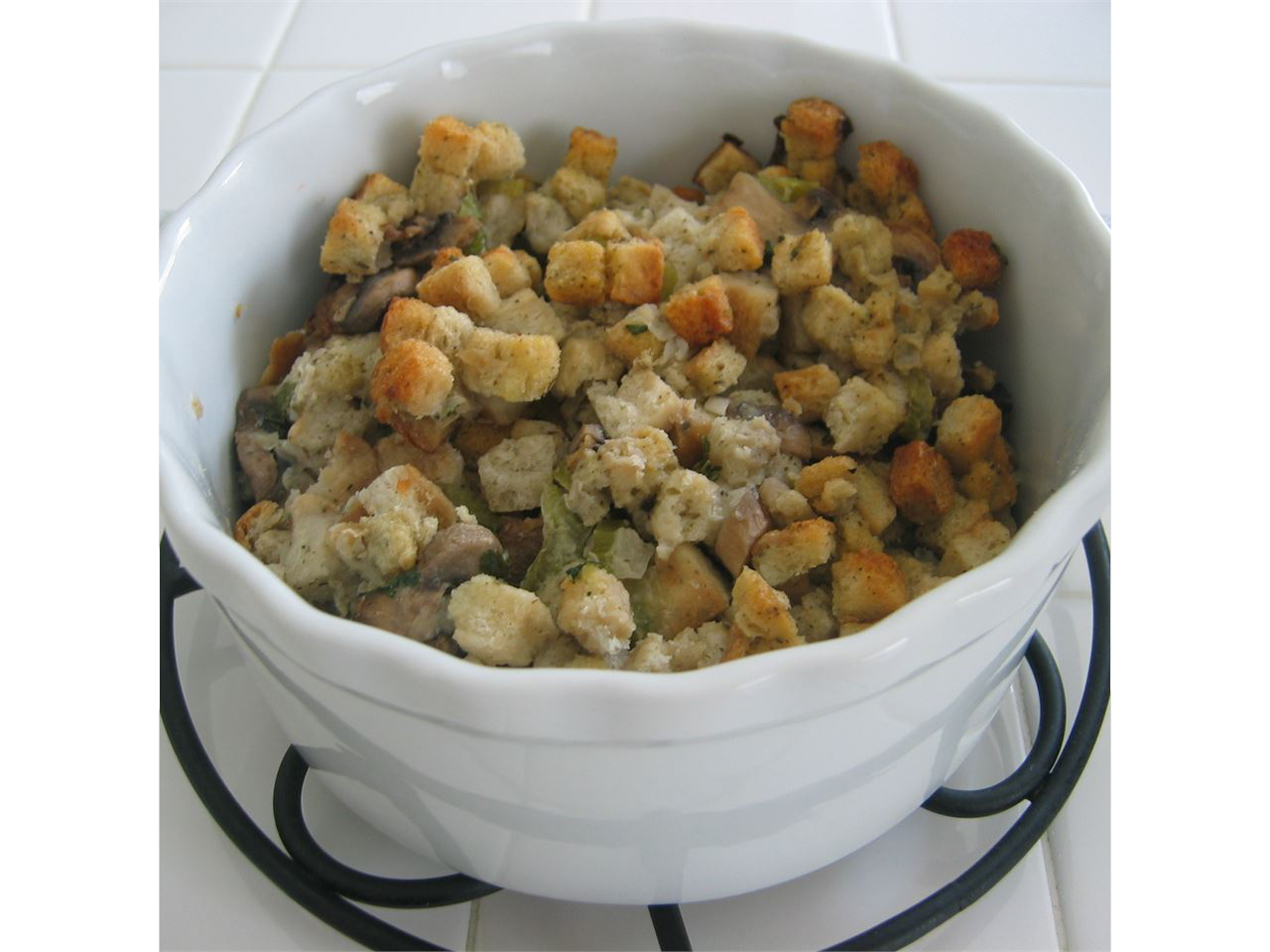 Slow Cooker Stuffing in a white bowl