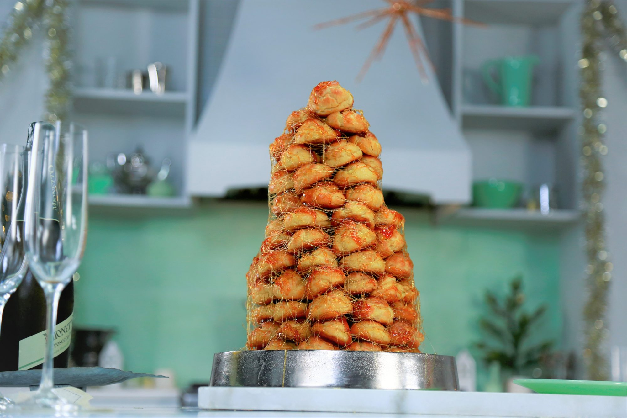 Tower of pastries with caramel drizzle