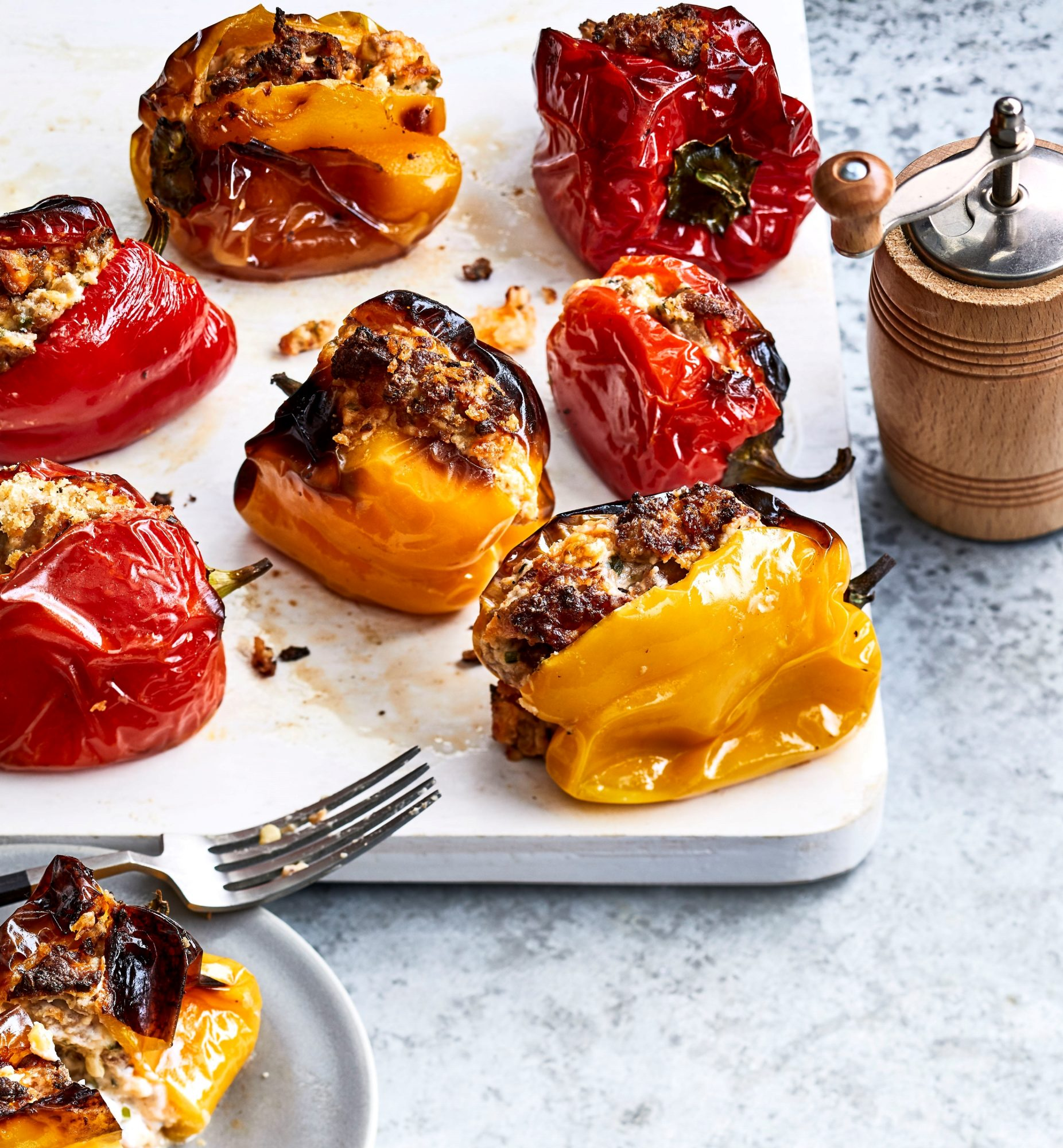 small charred peppers with cheesy stuffing.