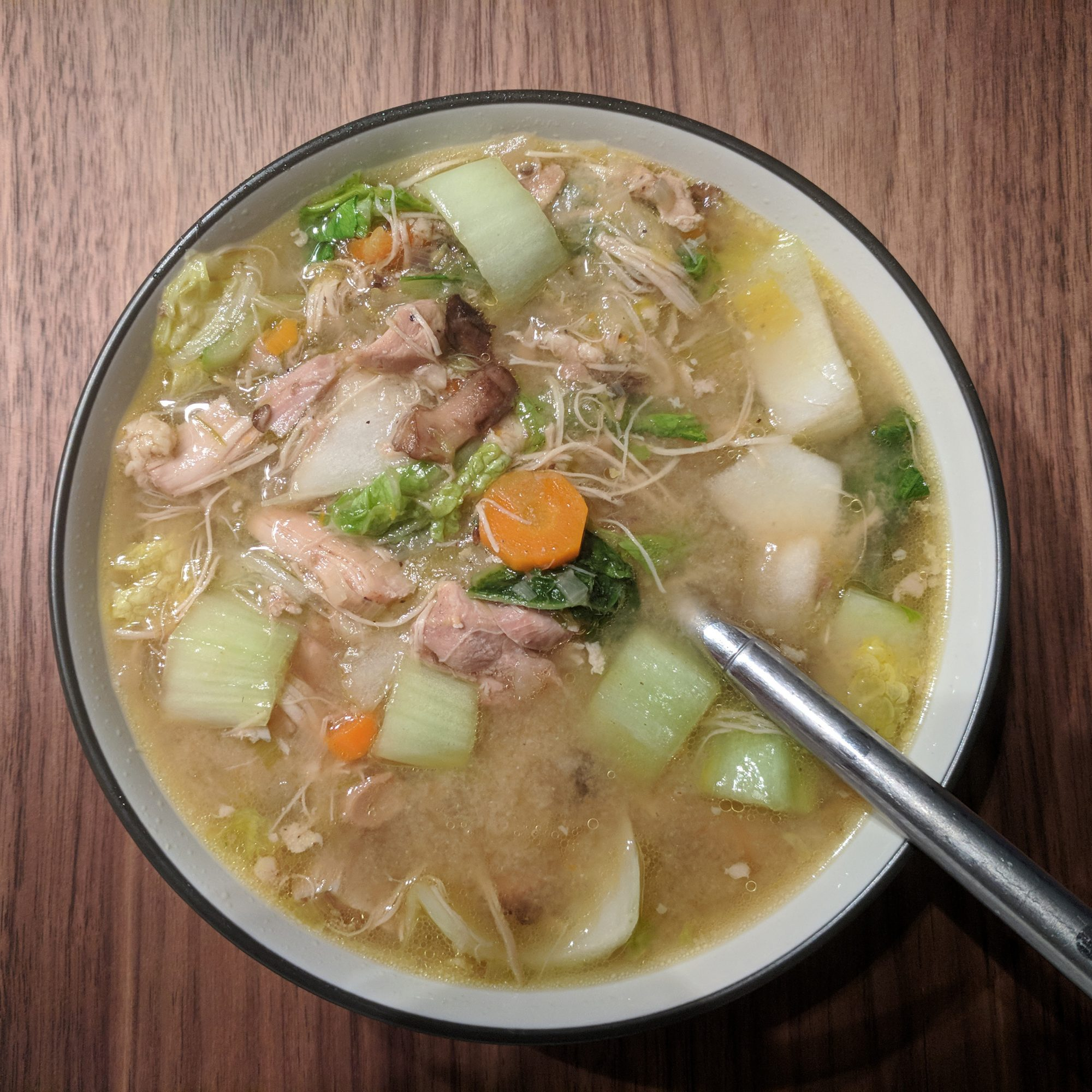 Chicken and Veggie Miso Soup in a bowl