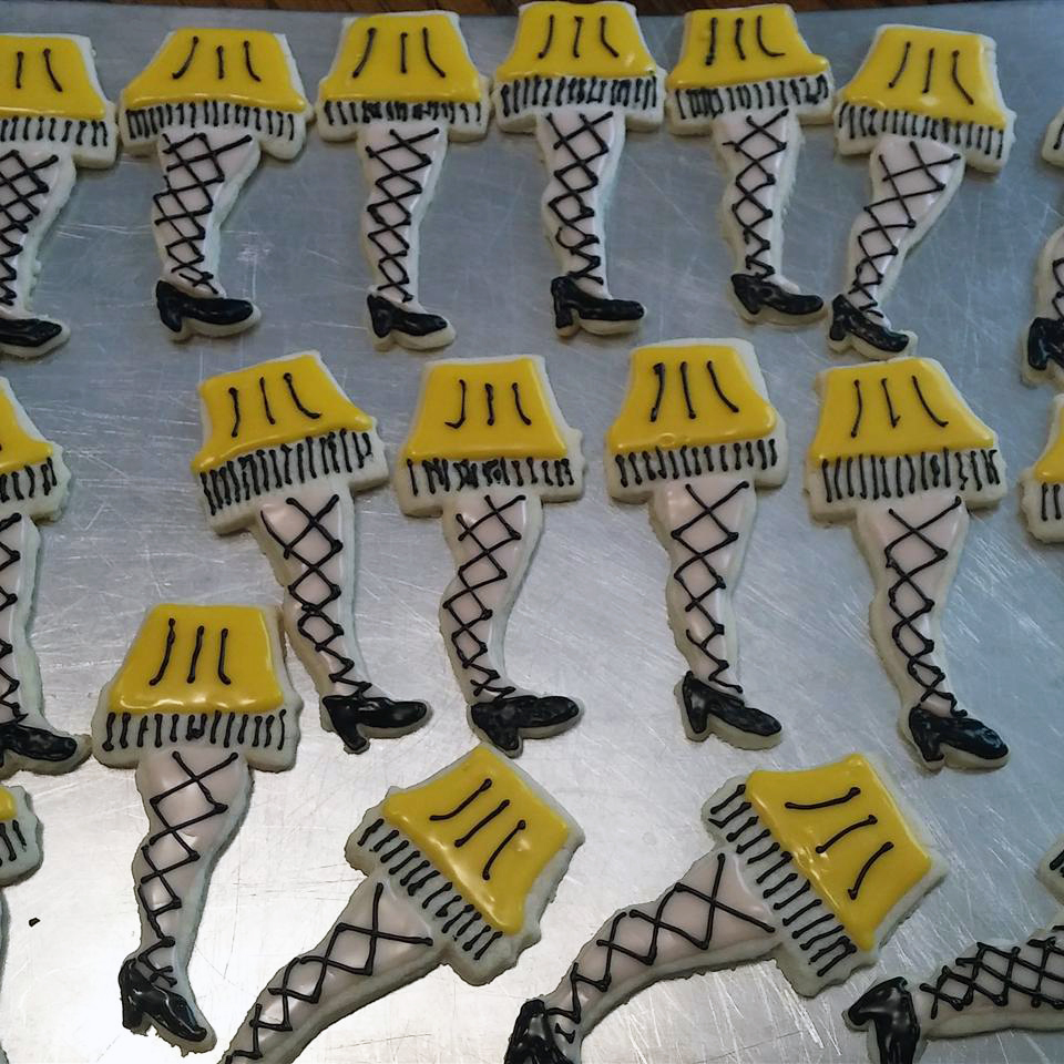 """sugar cookies decorated to look like """"leg lamps"""" from the movie A Christmas Story"""