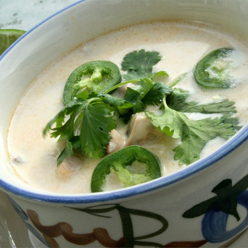 Spicy Chicken Thai Soup with cilantro