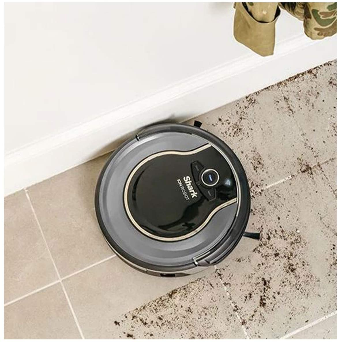 shark ion robot vacuum cleaner sucking up dirt and being perfect