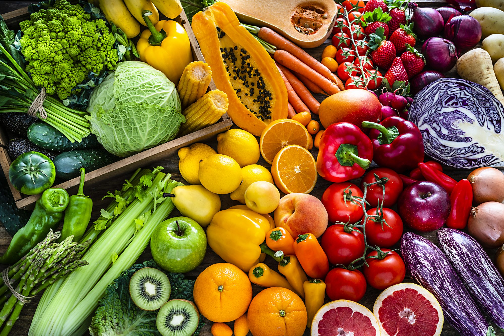 various colorful fruits and vegetables