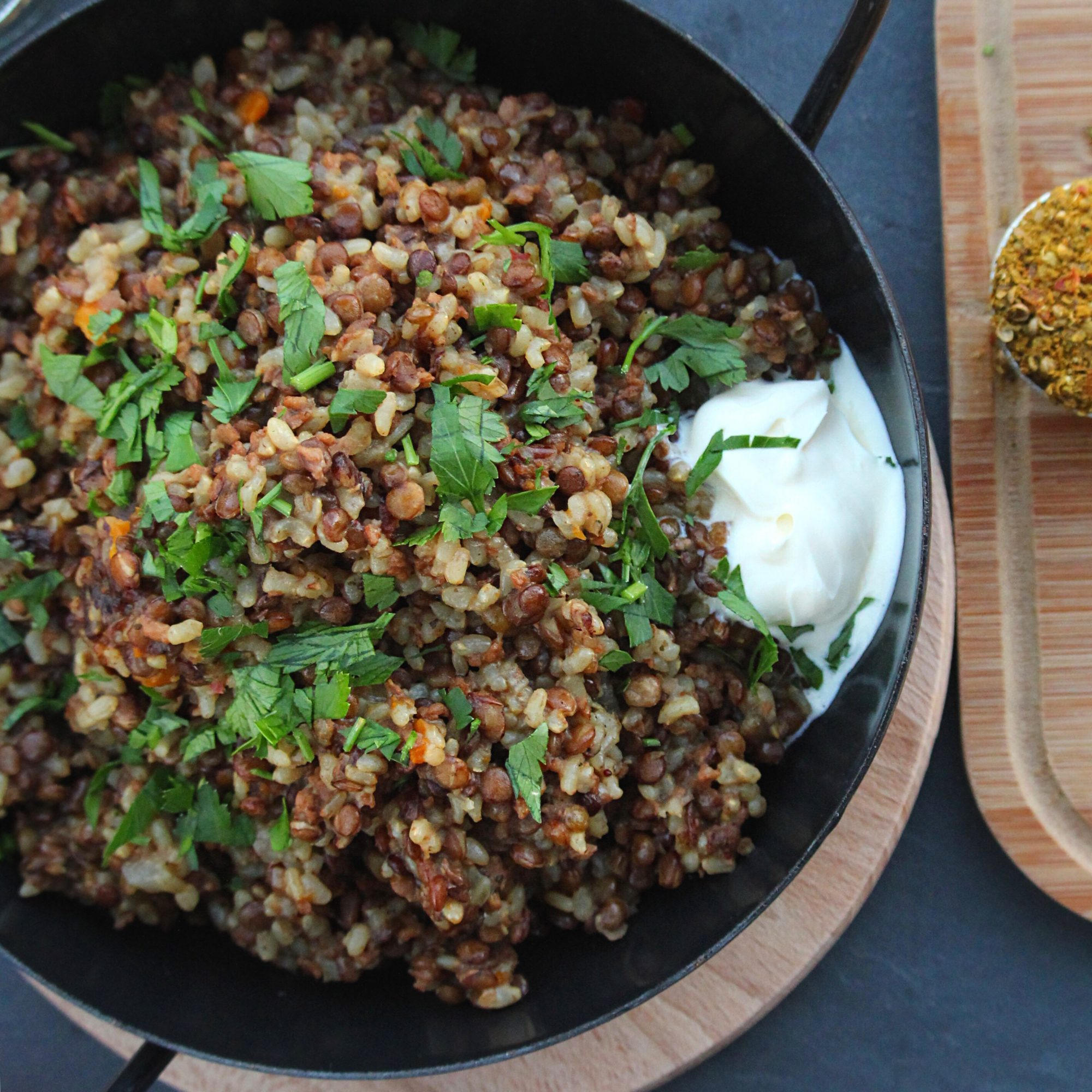 Lentils and Rice with TVP in a skillet