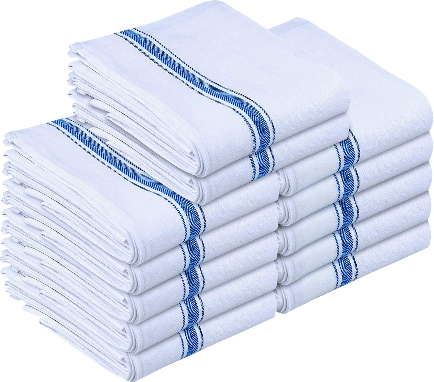 White and blue striped cotton dish cloths