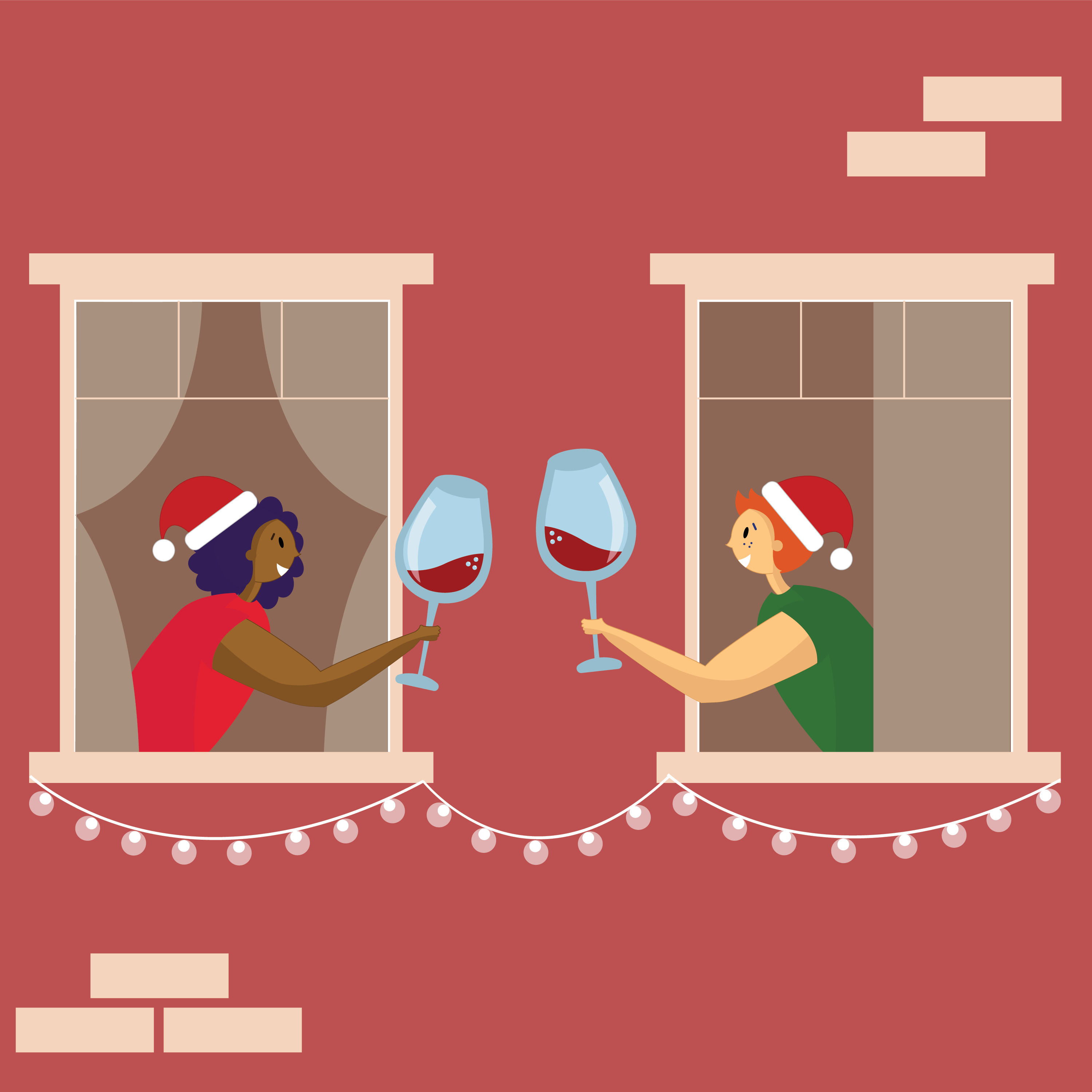 An illustration of two people celebrating Christmas during the pandemic. Drinking wine at the window. Social distancing.