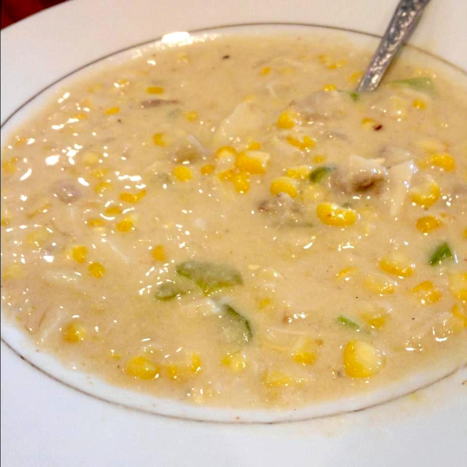 bowl of corn and crab bisque