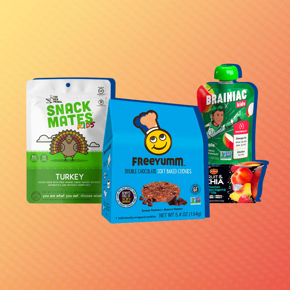 four packages of healthy snacks for kids