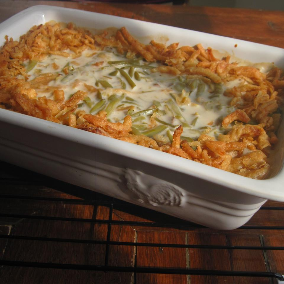 a white ceramic baking dish filled with the classic casserole