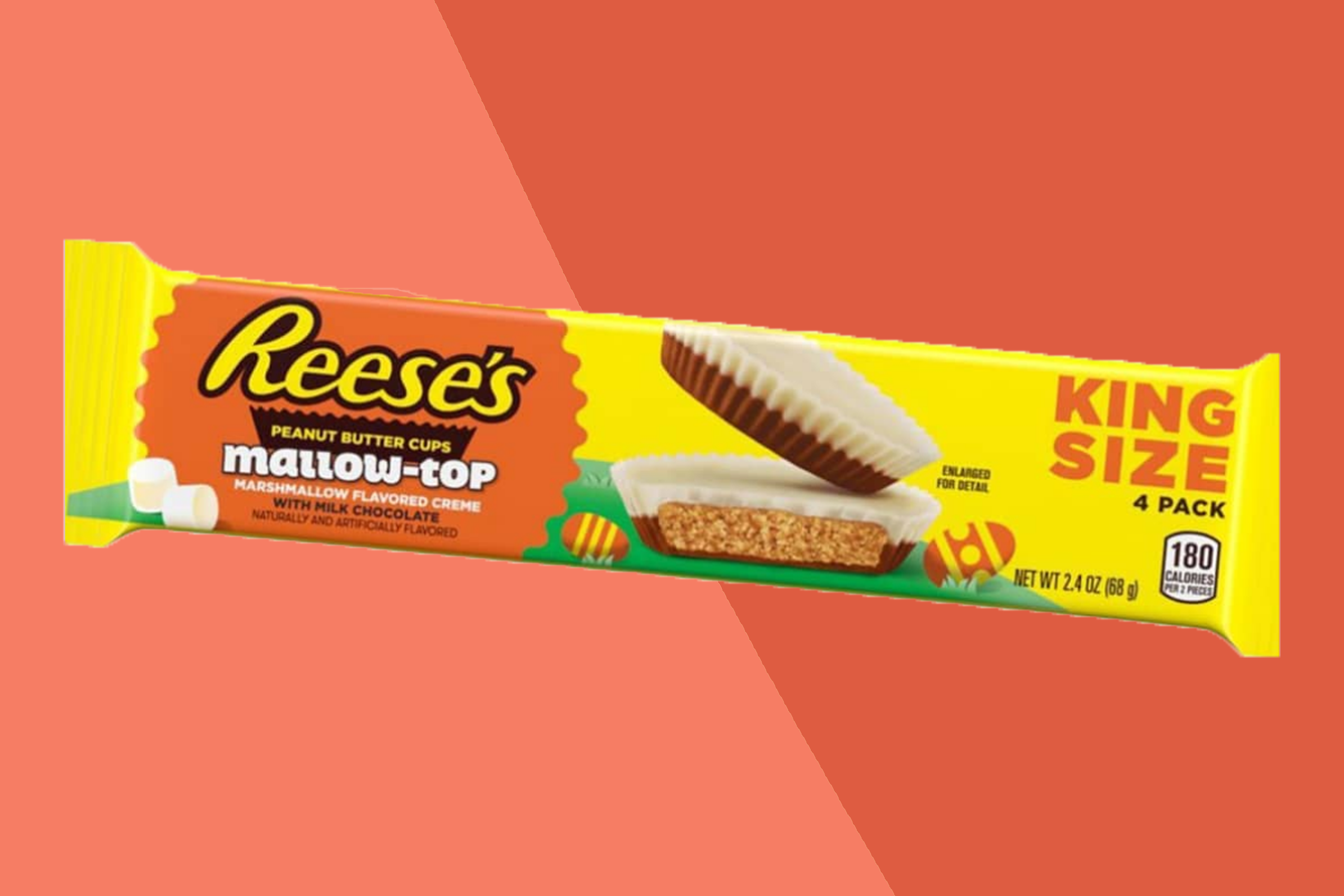 reese's mallow tops on orange background