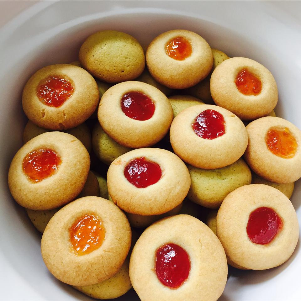 plate of jam-filled thumbprint cookies