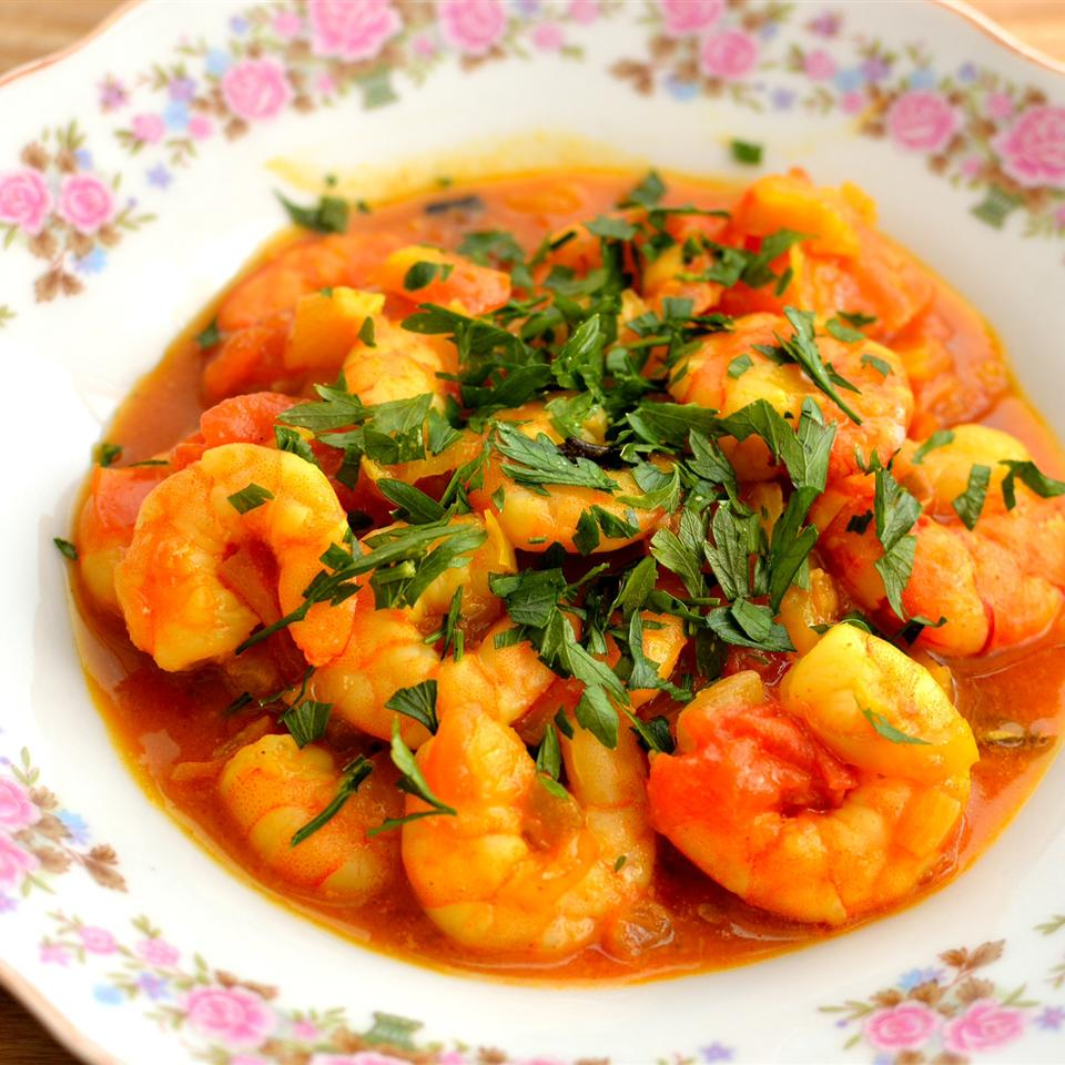 shrimp curry in old fashioned floral bowl