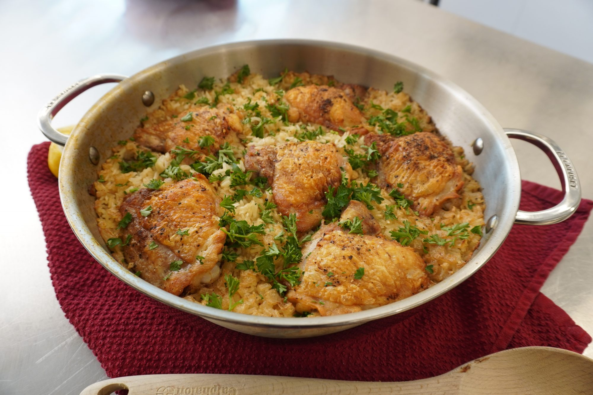 One-Pot Crispy Chicken and Rice