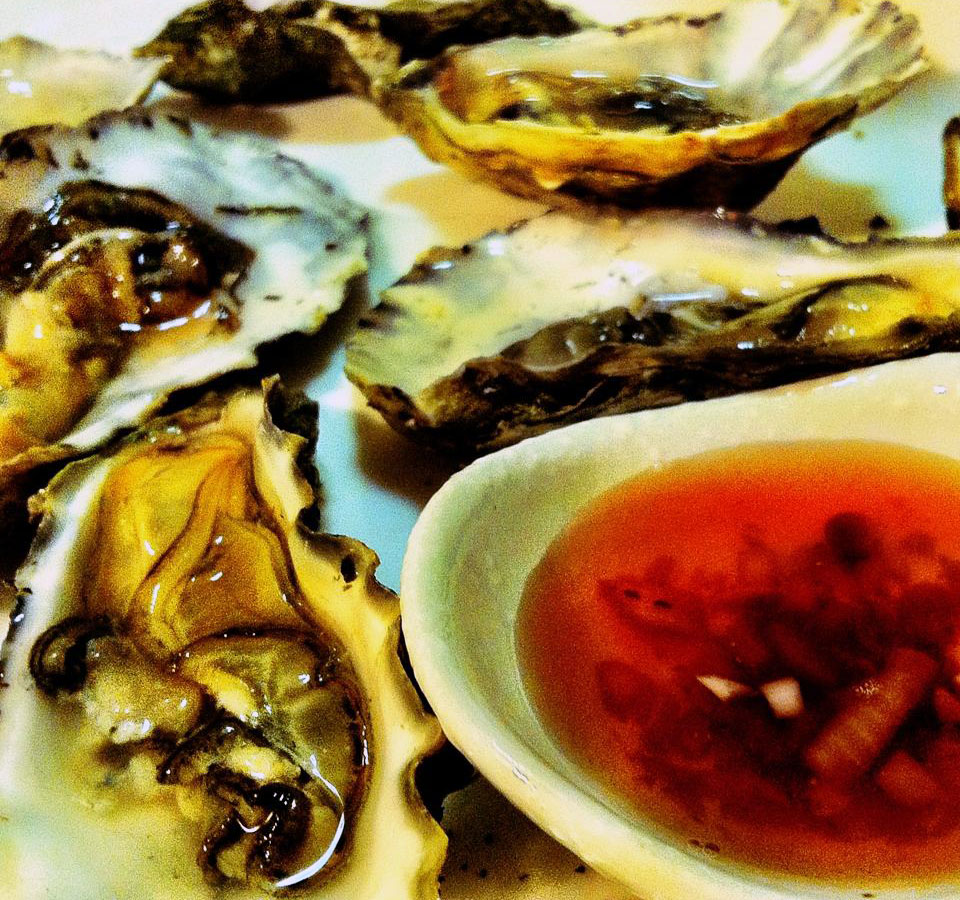 closeup of oysters on the half shell with a dish of pomegranate juice and Champagne vinegar sauce