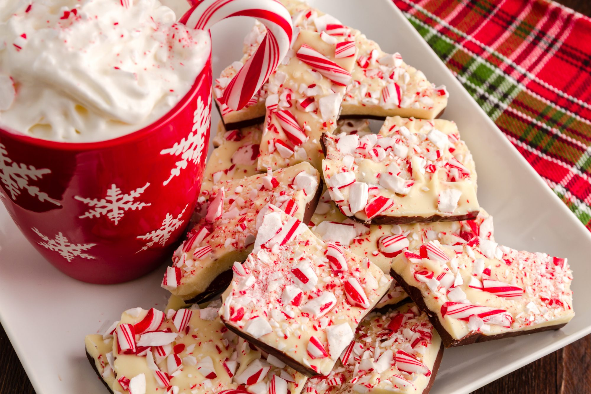 pile of white chocolate peppermint bark