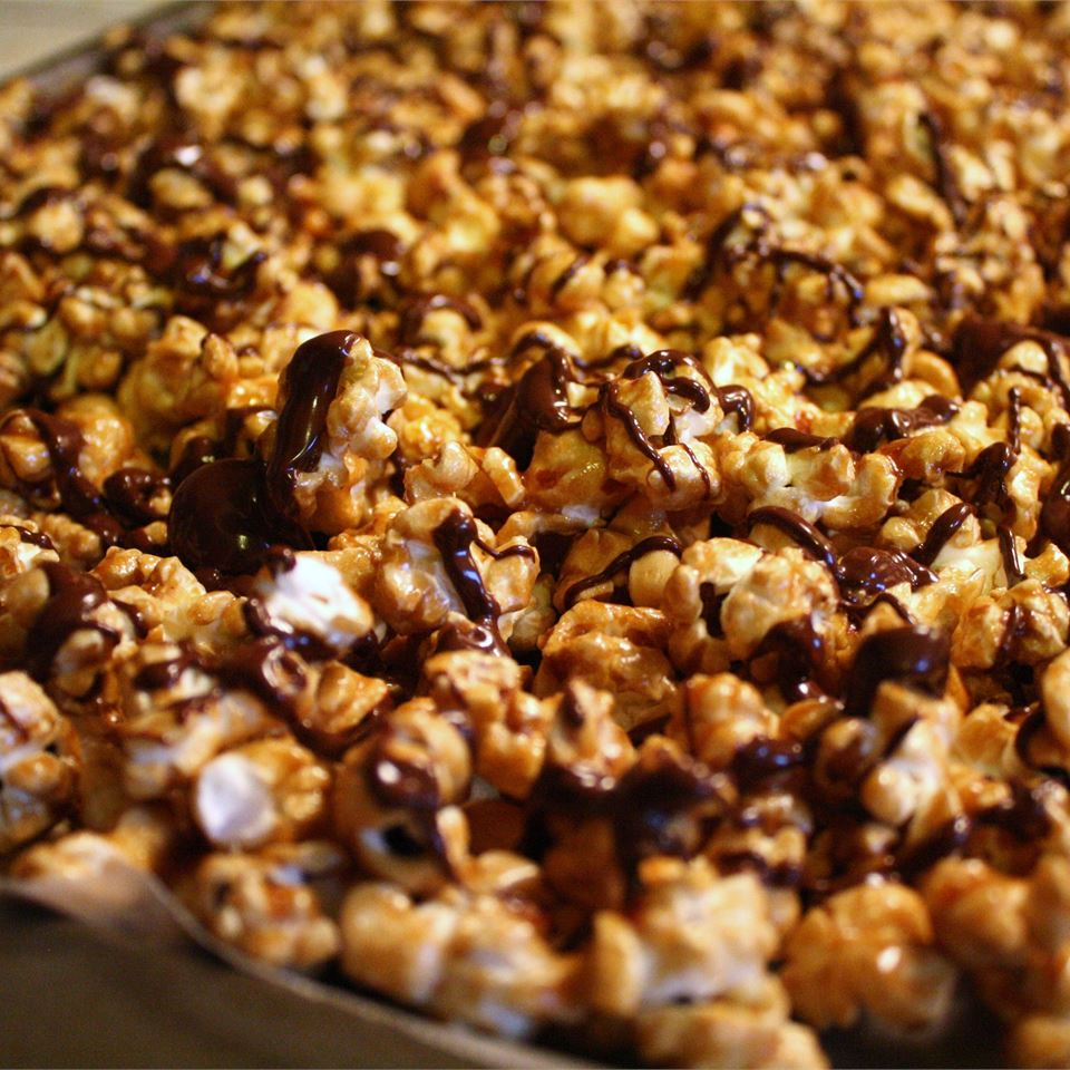 caramel and chocolate covered popcorn