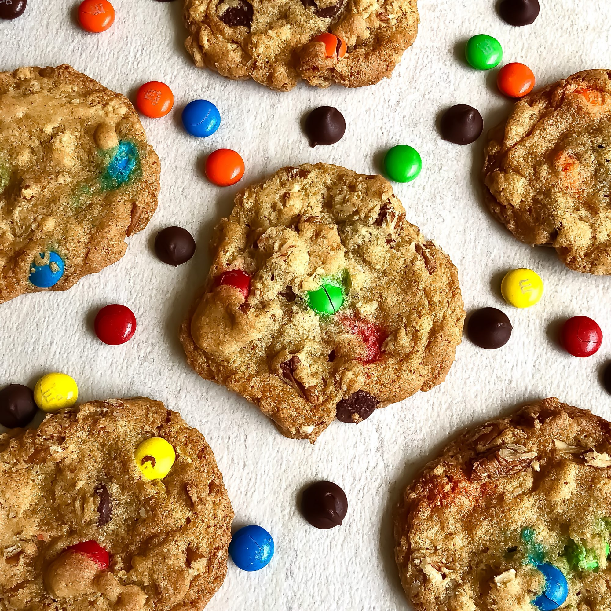 Cookies with colorful chocolate candies