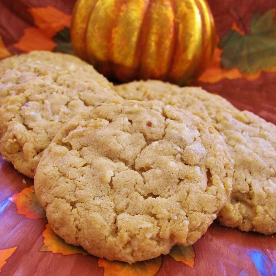 cookies with decorative pumpkin in background