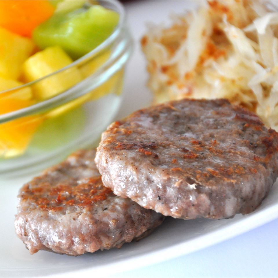 breakfast sausage with potato hash and fruit