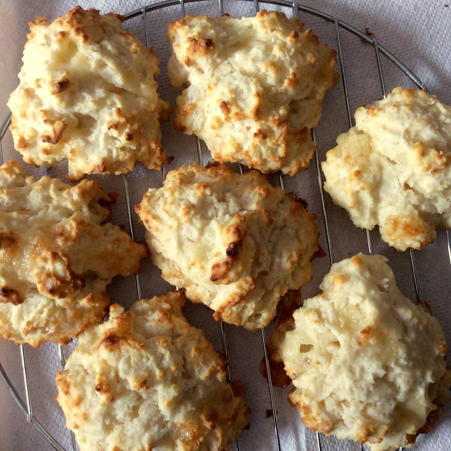 drop biscuits on a cooling rack
