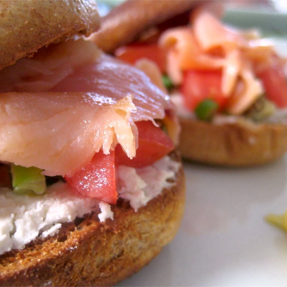 Smoked Salmon Pizette on a bagel