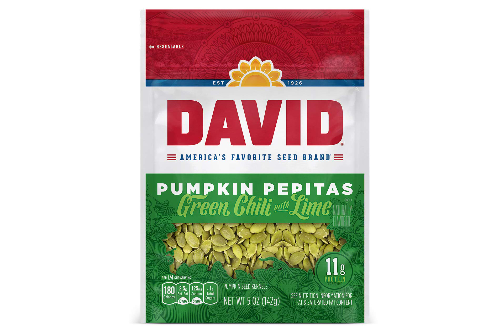 a bag of DAVID SEEDS Green Chili with Lime Pumpkin Pepitas Seeds on a white background