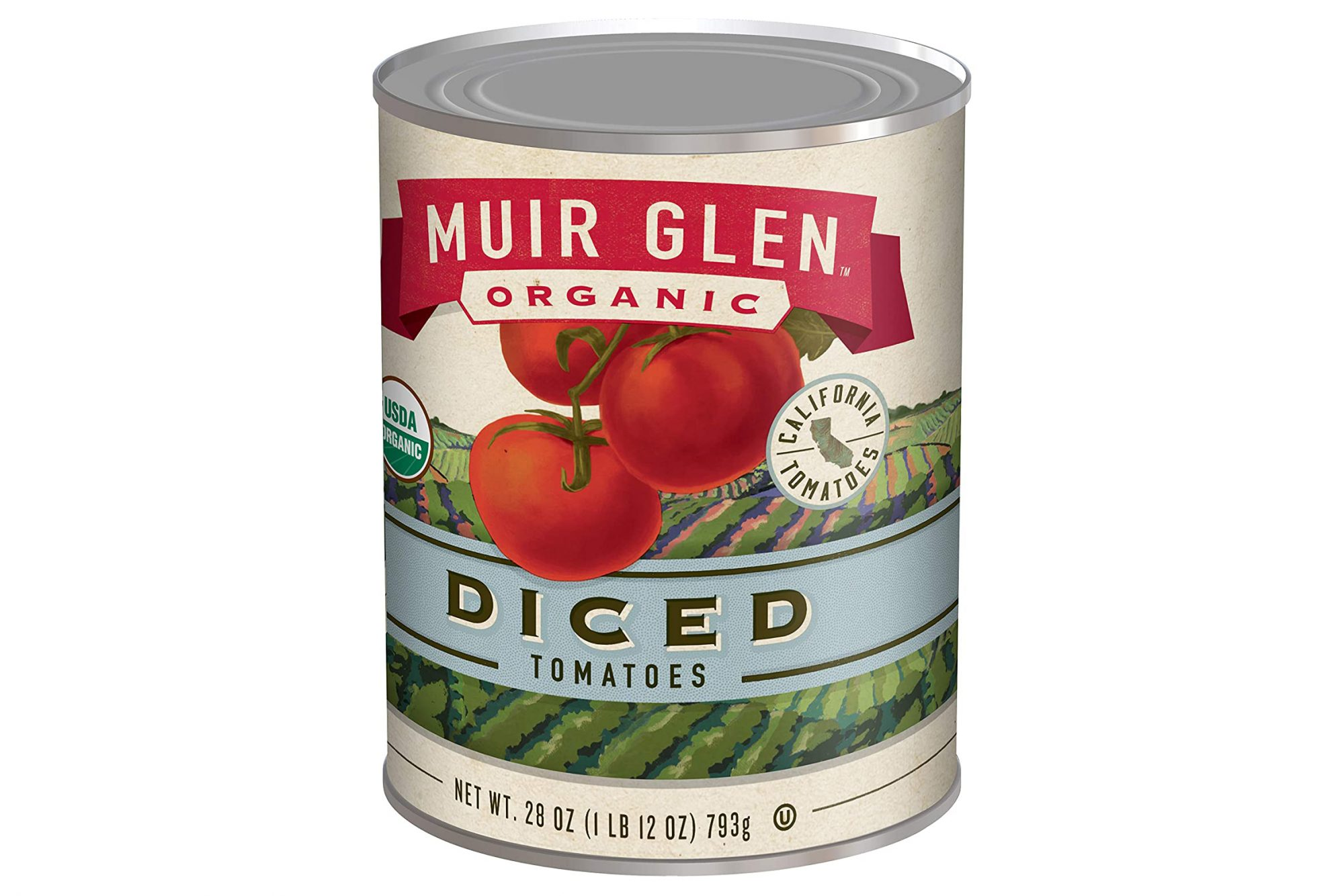 a can of Muir Glen Canned Tomatoes, Organic Diced Tomatoes on a white background