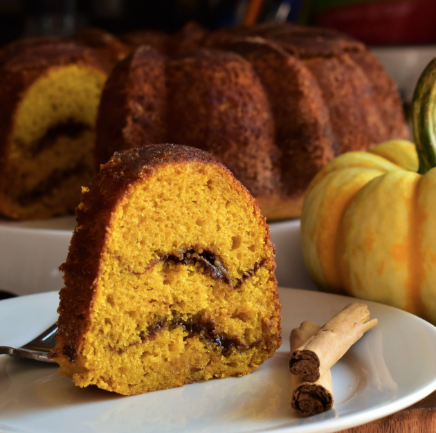 """""""A pumpkin-y, cake-y take on the classic snickerdoodle,"""" says recipe creator Kim. """"This cake has a slightly crisp exterior, a soft pumpkin-y interior, and a swirl of brown sugar and cinnamon running throughout. It takes a bit of time and finesse to assemble, but it's worth the extra effort."""""""