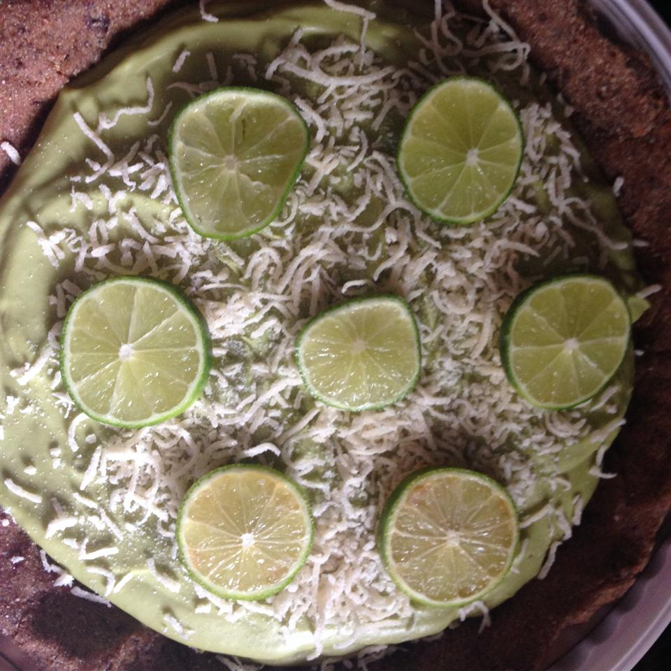 Vegan Key Lime Pie with coconut on top