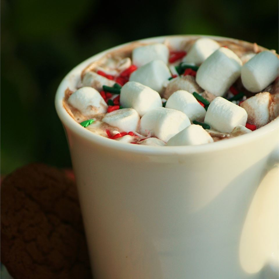 Hot Chocolate in a mug with marshmallows and sprinkles